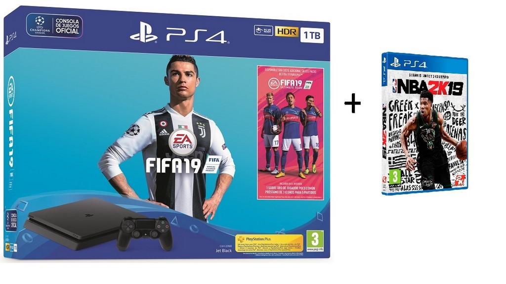 PLAYSTATION 4 SLIM 1TB + JUEGO  FIFA19 (SONY)