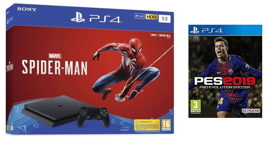 PLAYSTATION 4 SLIM 1TB + SPIDERMAN + PES2019