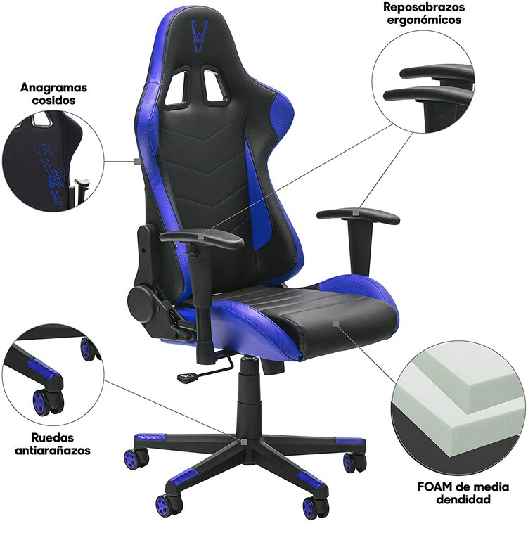 SILLA GAMING STINGER STATION NEGRO-AZUL (WOXTER)